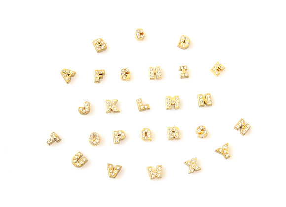 Gold Crystal Alphabet Charm A-Z