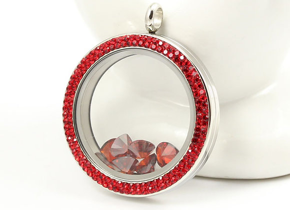 Large Double Crystal Twist Opening Locket in Red
