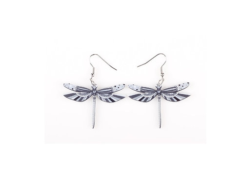 Dragonfly Earrings- Black Grey