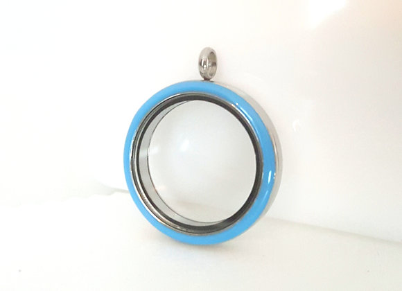 Silver Twist Locket with Blue Enamel Face