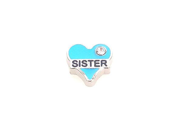 Sister Heart Charm- Blue