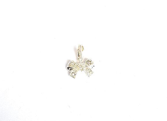 Silver Crystal Bow Dangle Charm