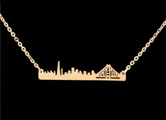 San Francisco Skyline Necklace Gold