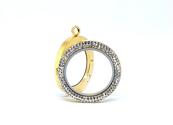 34mm (XL) Double Crystal Gold Locket