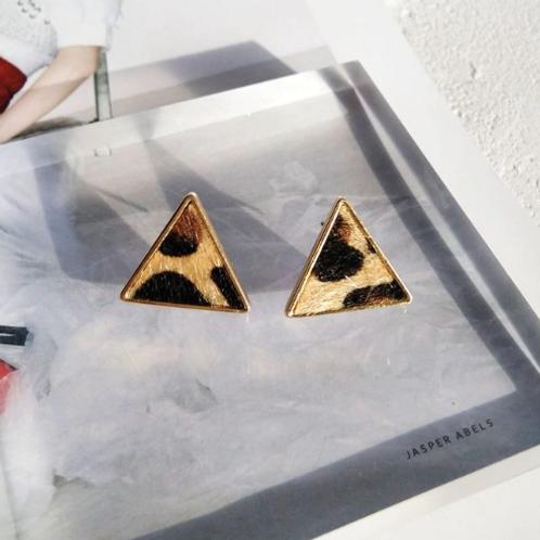 Leopard Print Triangular Stud Earrings