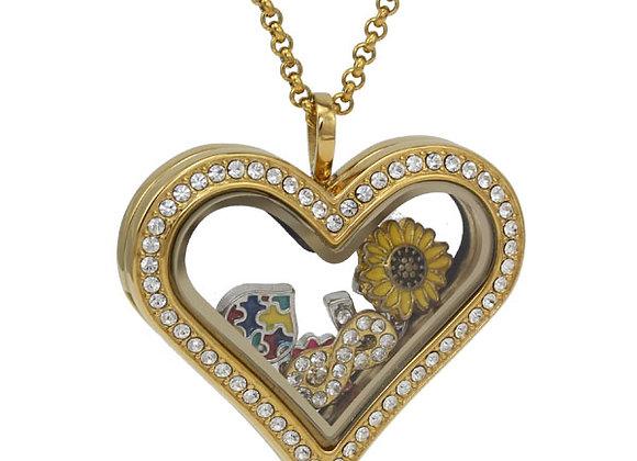 Gold Heart Shaped Crystal Locket