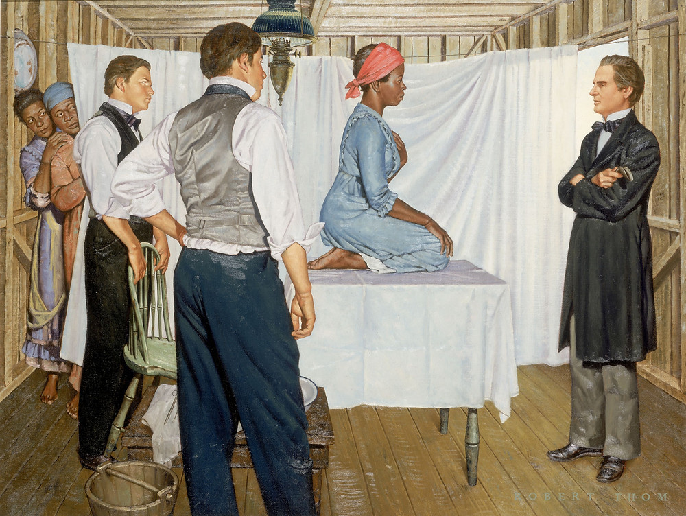 Illustration of Dr. J. Marion Sims with Anarcha by Robert Thom. Anarcha was subjected to 30 experimental surgeries