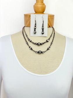 Diamond cut silver bead necklace