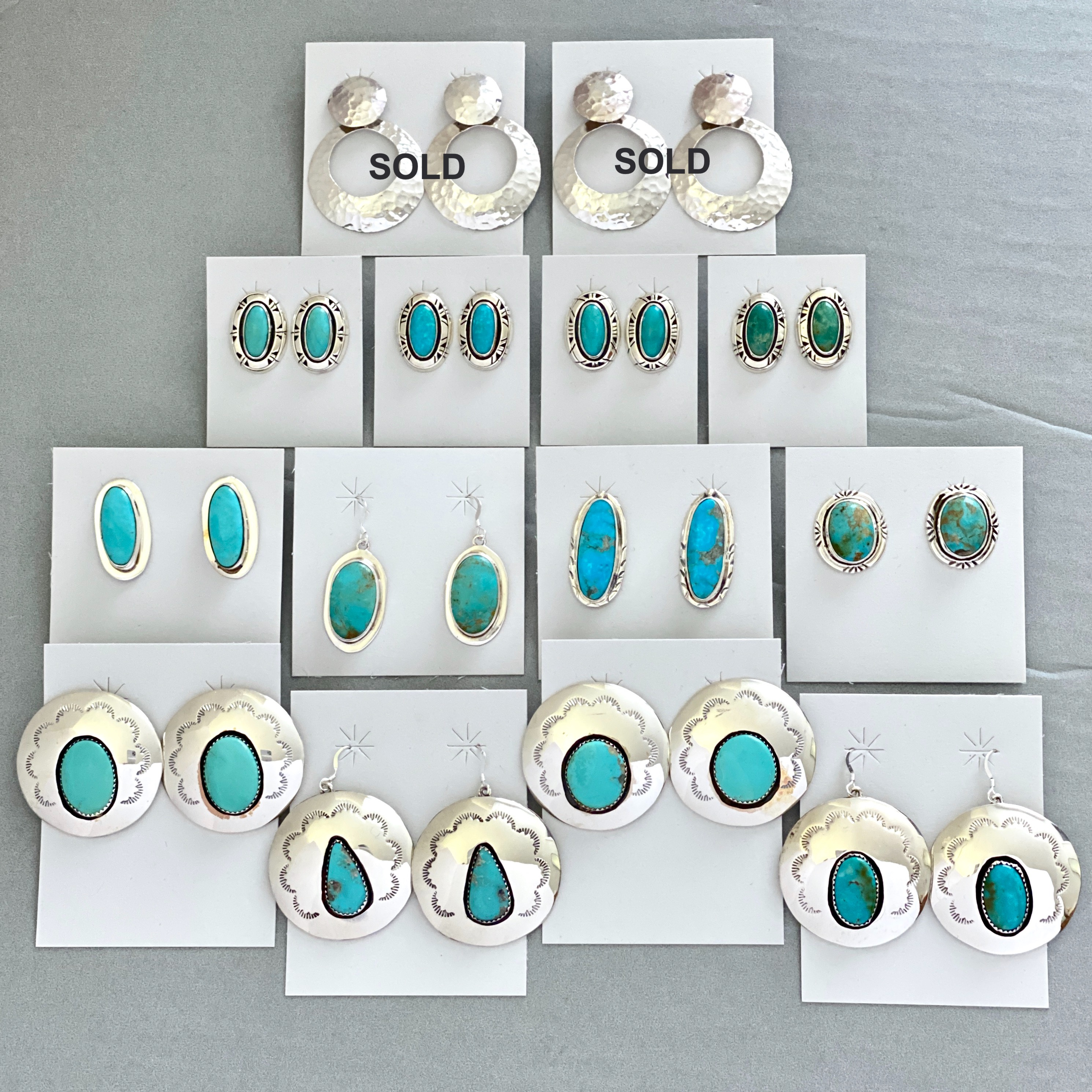 Turquoise/silver mixed earrings