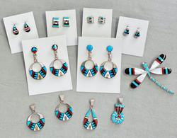 Multicolor inlay earrings & pendants