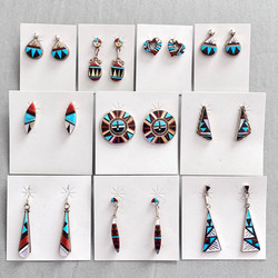 Multicolor inlay small to medium earrings