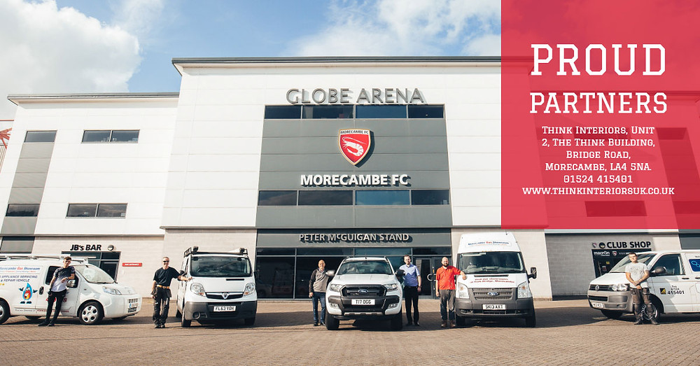 Think Interiors outside Globe Arena in Morecambe