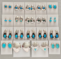 Sterling/turquoise mixed small earrings