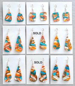 Multicolor slab earrings
