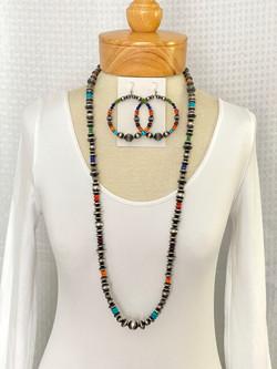 Silver bead gemstone necklace