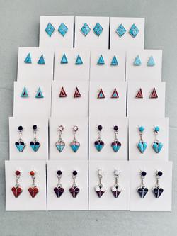 Assorted geometric inlay earrings