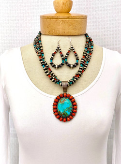 Multistrand turquoise/coral