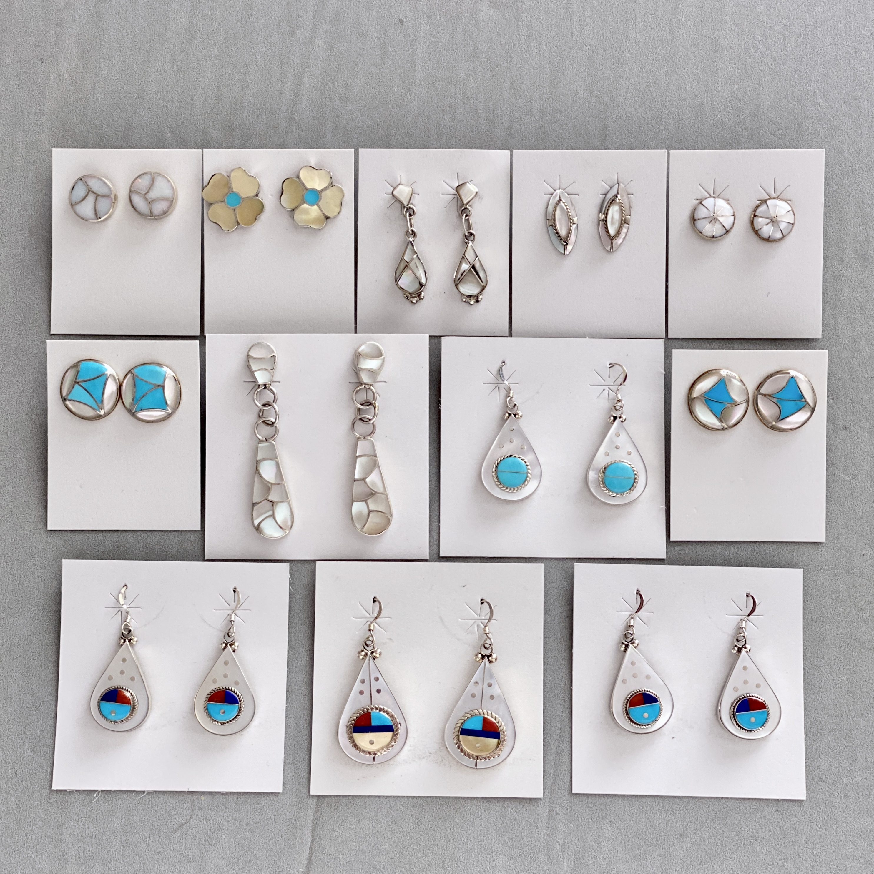 Mother of pearl & turquoise earrings