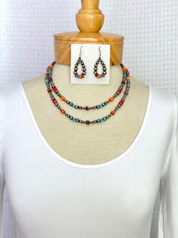 Multicolor necklace center nugget