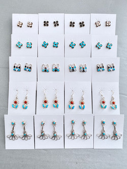 Assorted stone inlay earrings