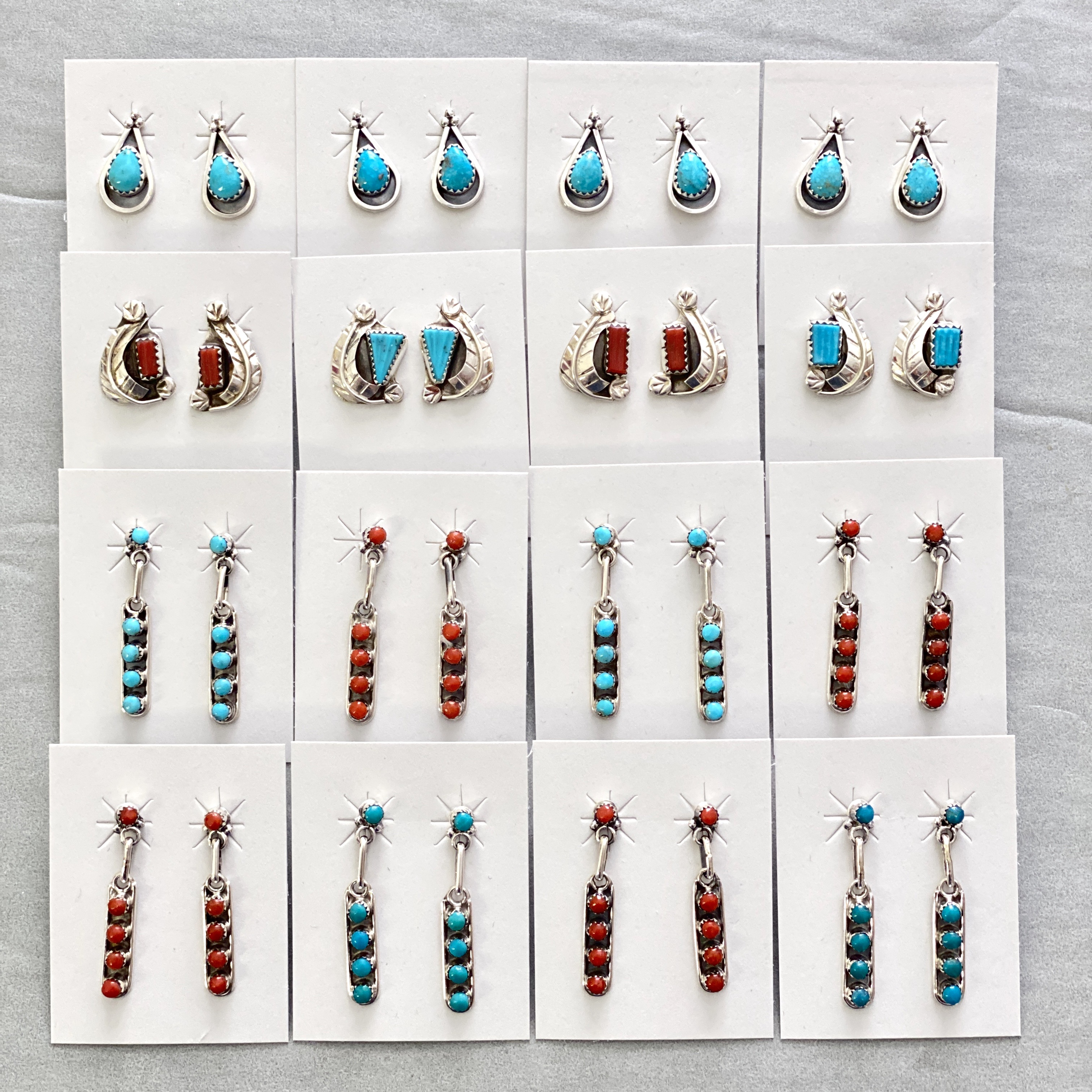Small turquoise/coral styles