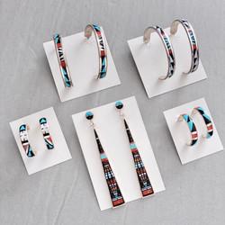 Multicolor inlay earrings