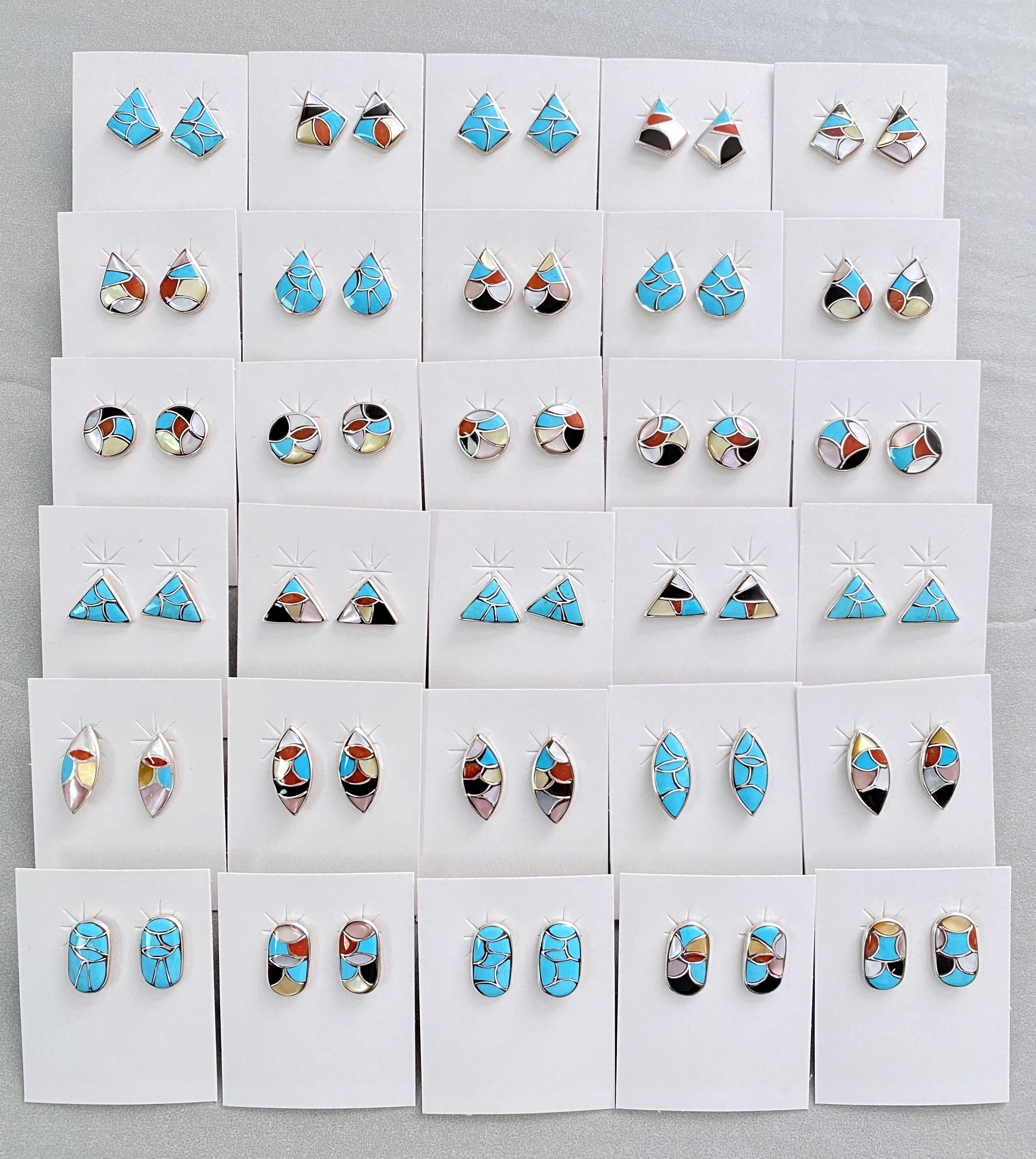 Small assorted inlay earrings