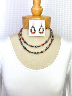 Multicolor necklace center silver