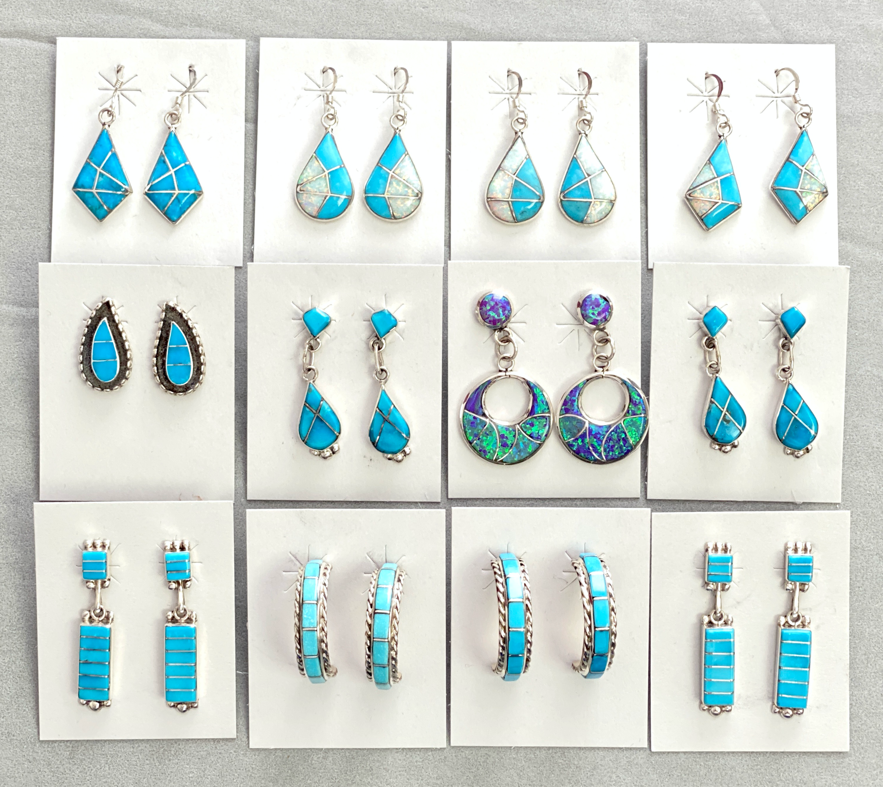 Turquoise mixed inlay earrings