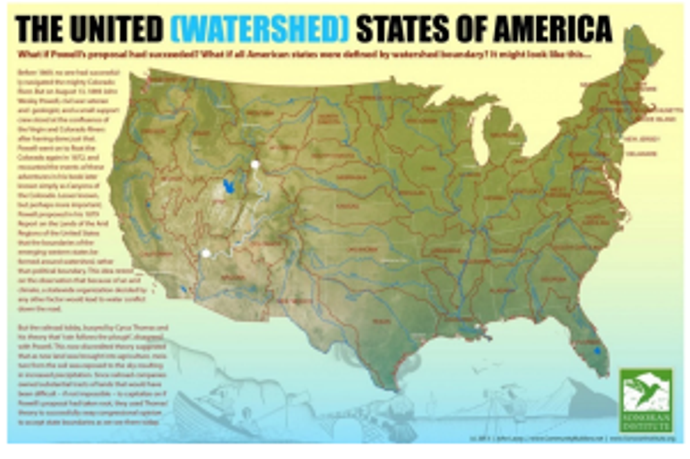 What the US would look like if the 50 states were shaped by watersheds.