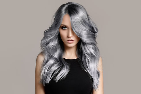 Beautiful woman with long wavy coloring