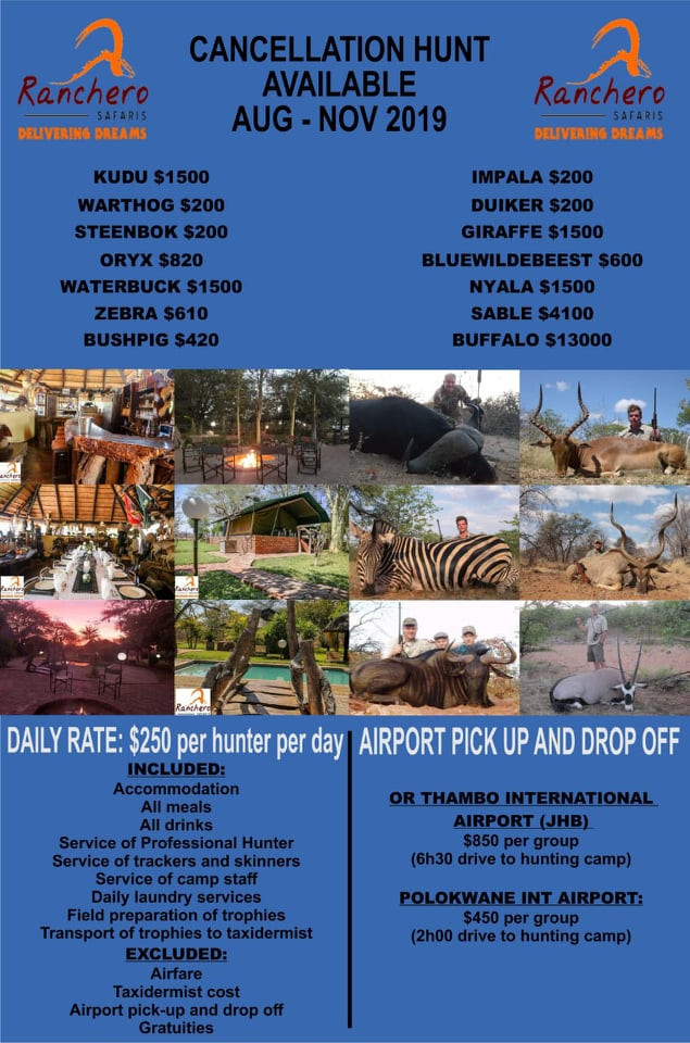 Limpopo Hunting Safaris Price List 2019 Special