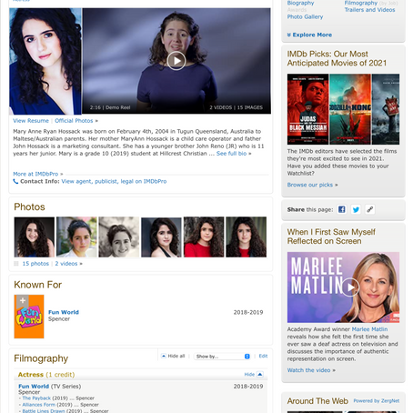IMDB Mary Hossack