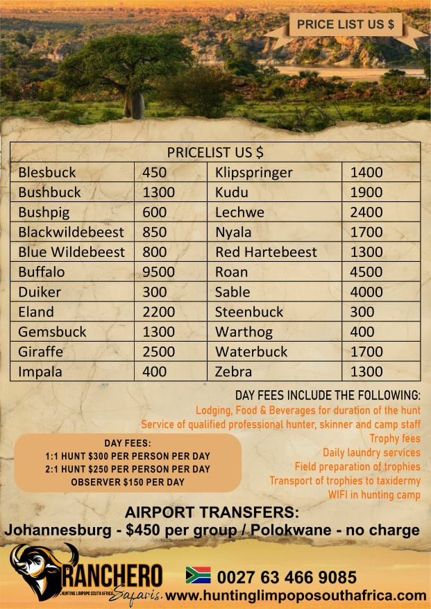 Limpopo South Africa Hunting Safari Price List