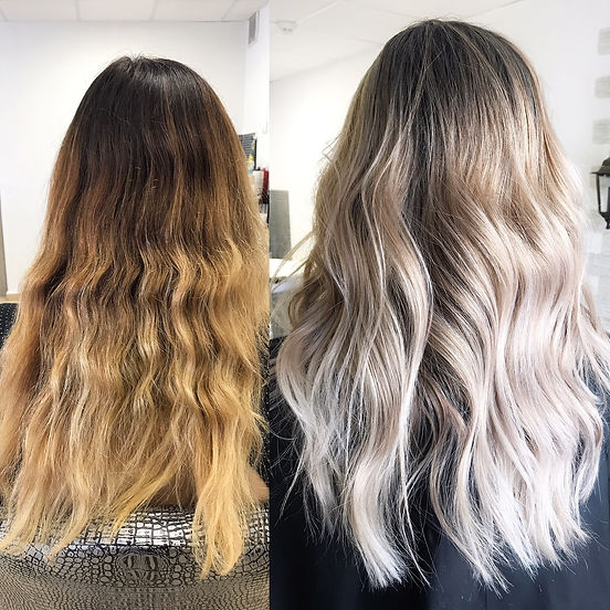 Before and after hair color in cool tone