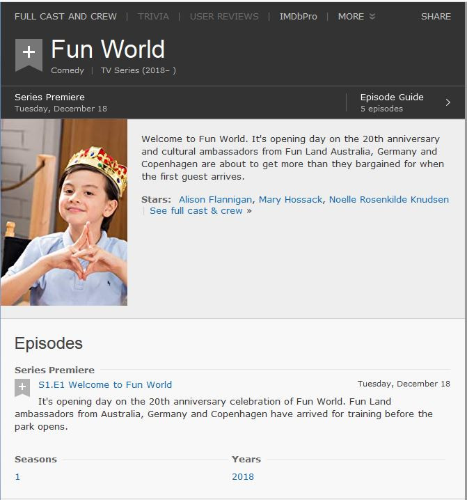Fun World Tv Series IMDB Imformation Page