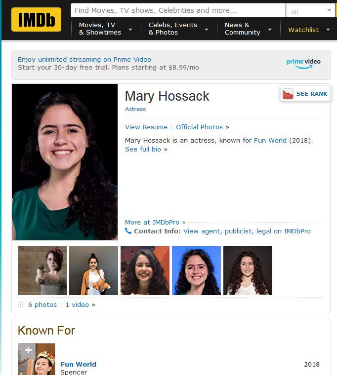 IMDB Fun World TV Series 2018 Mary Hossack