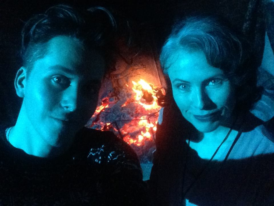 Me and Rowena on location shooting 'The House Of Violent Desire'