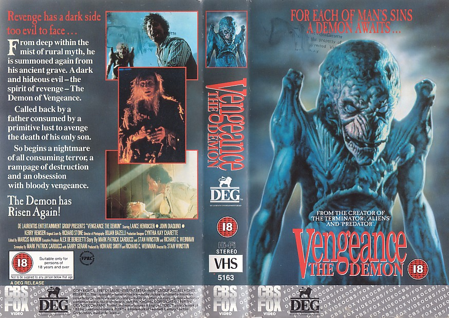 pumpkinhead 1988 UK VHS cover aka VENGEANCE THE DEMON 1