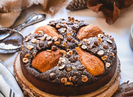 Gâteau aux poires et au chocolat, soupçon d'huile d'olive