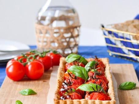 Tarte aux tomates et compotée d'oignons