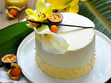 Tahaa ombre cake | Layer cake au passion curd et vanille de Tahiti