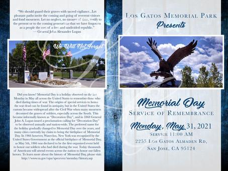 Los Gatos Memorial Park - Service of Remembrance - Memorial Day Program for May 31, 2021