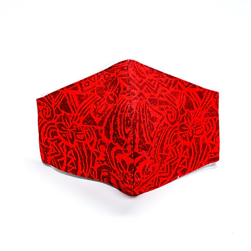 Solid Red Poly Tatau Print Face Mask