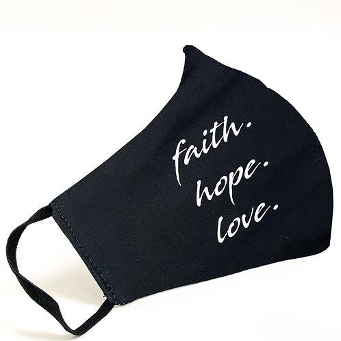 Faith Hope Love 100% Cotton Face Mask