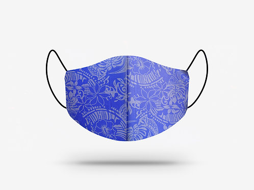 Blue and Grey Hibiscus Print Cotton Face Mask