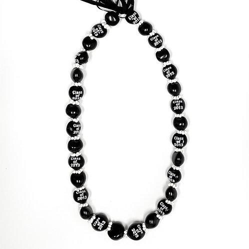 Black Kukui Nut Lei w/ White Class of 2013 Print and Mongo Shells