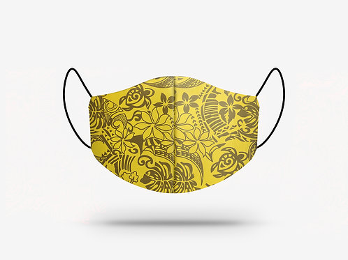Yellow and Brown Hibiscus Print Cotton Face Mask