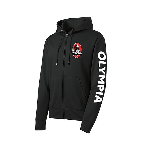 Olympia Black Polyester Full-Zip Hoodie