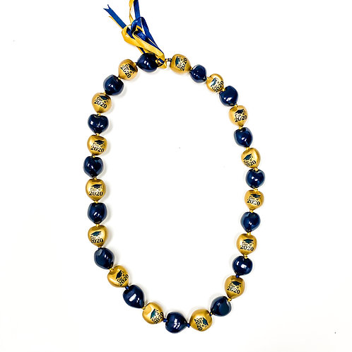 Navy and Gold Kukui Nut Lei with Class of 2020